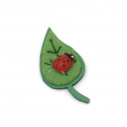 Leaf with ladybug foam / EVA material / and felt 40x20 mm -10 pieces