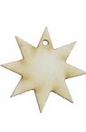 Star of chipboard for party decorations 40x40x1 mm - 10 pieces