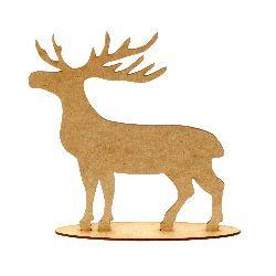 Figura din MDF maron pentru decorarea  forma cerb din 2 buc 200x160x3 mm