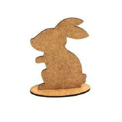 Figura din MDF maron pentru decorarea iepurelui cu suport 100x75x2 mm