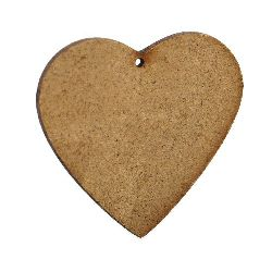 Figurină MDF maron pentru inimă de decorare 55x65x2 mm - 4 bucăți