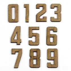 MDF Wooden decoration element numbers 40 x 20 x 2 mm