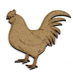MDF Wooden decoration element cock 100 x 90 x 2 mm