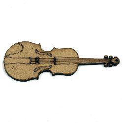 Фигурка кафява МДФ за декорация цигулка 100x40x2 мм
