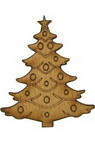 DIY Wooden embellishment fir tree 68x4 mm - 1 pc