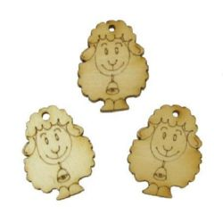 Wooden Embellishment Pendant sheep 22x28x3 mm hole 2.2 mm - 10 pieces