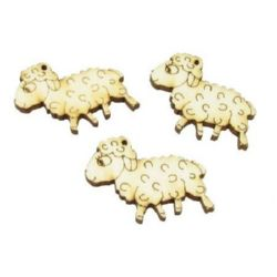 Wooden Embellishment Pendant sheep 30x26x3 mm hole 2.2mm - 10 pieces