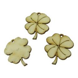 DIY Wooden embellishments clover with handle 40x35x3 mm - 10 pieces
