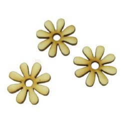 Wooden flower figurine for decoration 30x3 mm.- 10 pieces