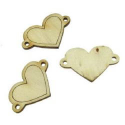 DIY Wooden embellishment Heart 40x25x3 mm - 10 pieces