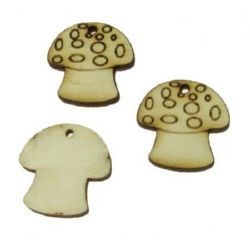 DIY Wooden embellishment Mushroom 25x25x3 mm 25x25x3 mm hole 2 mm - 10 pieces