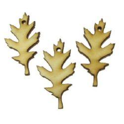 Фигурка дърво за декорация листо 45x25x3 мм дупка 2 мм-10 броя