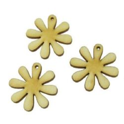 DIY Wooden embellishment Flower   30x3 mm - 10 pieces
