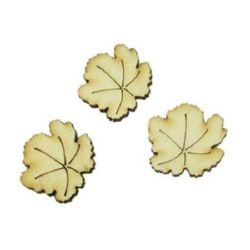 DIY Wooden embellishment leaf 30x25x3 mm - 10 pieces