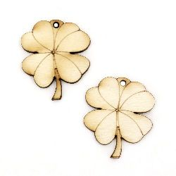 Wooden figurine for decoration clover with handle 35x30x3 mm hole 3 mm -10 pieces