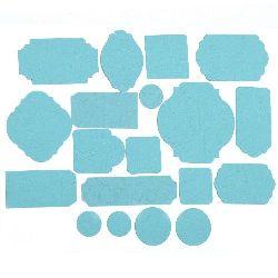Eticheta din carton gofrat diferite forme de la 17 la 67 mm albastru deschis 19 bucăți