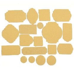 Таг от релефен картон различни форми от 17 до 67 мм охра 19 броя