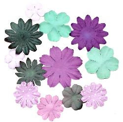 Embossed Paper flowers from 25mm to 50mm Assorted colors - purple and green - 3 grams approximately 30 pieces