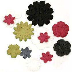 Цветя от хартия релефни от 25 мм до 60 мм бели, зелени, червени и черни-3 грама приблизително 25 броя