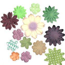 Цветя от хартия релефни от 25 мм до 70 мм асорте цветове - кафяво и зелено -3 грама приблизително 30 броя