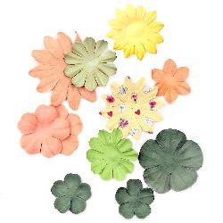 Λουλούδια χάρτινα από 25 mm έως 70 mm διάφορα χρώματα - πορτοκαλί και πράσινο -3 γραμμάρια περίπου 30 κομμάτια