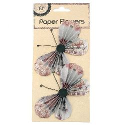 Пеперуди хартия и тел релефни 11.7x6.6 см на цветя с лепки -2 броя