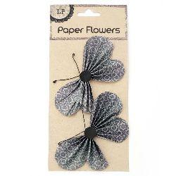 Χάρτινες πεταλούδες 11.7x6.6 cm με σύρμα, σκούρο πράσινο -2 τεμάχια