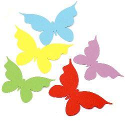 Пеперуда за декорация хартия АСОРТЕ цветове -10 броя 14x10 см, 10 броя 12x9 см