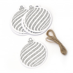 Glitter Christmas Cardboard Tags with Cord, Silver 7.2x8.2 cm  ~ 12 pieces