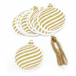Glitter Christmas Cardboard Tags with Cord, Gold 7.2x8.2 cm ~ 12 pieces