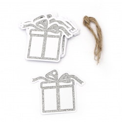 Glitter Christmas Cardboard Tags with Cord, Silver 8.6x7.5 cm ~ 12 pieces