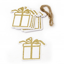 Glitter Christmas Cardboard Tags with Cord, Gold 8.6x7.5 cm ~ 12 pieces