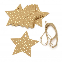 Kraft Cardboard Star Tags with Gold Foil Dot Pattern and Jute Cord 8.5x8.5 cm -12 Pieces