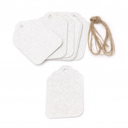 Glitter Cardboard Gift tags, Silver with Jute Cord 5.7x8.5 cm -12 pieces
