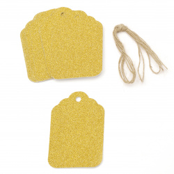 Cardboard tags 5.7x8.5 cm cardboard glitter gold with cord jute -12 pieces