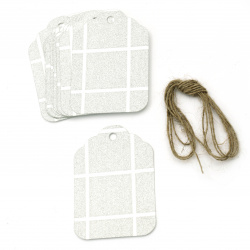 Glitter Cardboard Gift tags, Silver with Squares Pattern and Jute Cord 5.7x8.5 cm -12 pieces