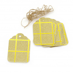Glitter Cardboard Gift tags, Gold with Squares Pattern and Jute Cord 5.7x8.5 cm -12 pieces