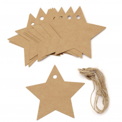 Kraft Cardboard Star Tags with jute cord 8.5x8.5 cm   -12 pieces