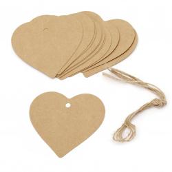 Картонени тагове сърце 8x8 см крафт картон с шнур юта -12 броя