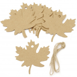 Kraft Cardboard Autumn Leaf Tags with jute cord 8x8 cm -12 pieces