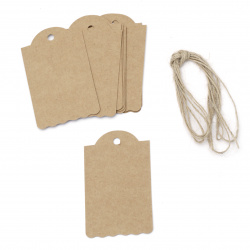 Cardboard tags 4.5x7.5 cm kraft cardboard with jute cord -12 pieces