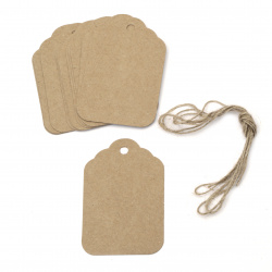 Kraft Cardboard Tags with jute cord 5.8x8.5 cm -12 pieces