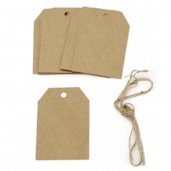 Etichete de carton 5.8x8.5 cm carton kraft cu cordon de iută -12 bucăți
