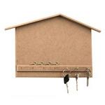 MDF Wooden Key Hanger, Decoration, 7 Hooks, House Shape, 28x23 cm