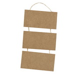 Тhree smooth MDF wooden tile with rope for decoupage 3x8x15 cm