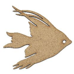 MDF wooden element for decoration in fish shape 100x95x2 mm