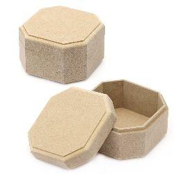 MDF box for decoration octagonal 10x10x6 cm