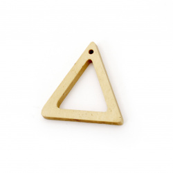 Wooden triangle pendant for decoration  35x34x4.5 mm hole 2 mm color wood - 5 pieces