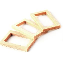 Wooden frame 50x29.5 ~30x4.5~5 mm - 4 pieces