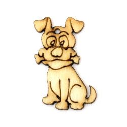 Pendant wooden dog 30x20x2 mm - 10 pieces